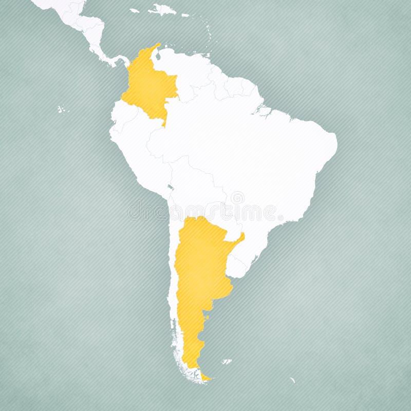 南美洲-哥伦比亚和阿根廷的地图 库存例证