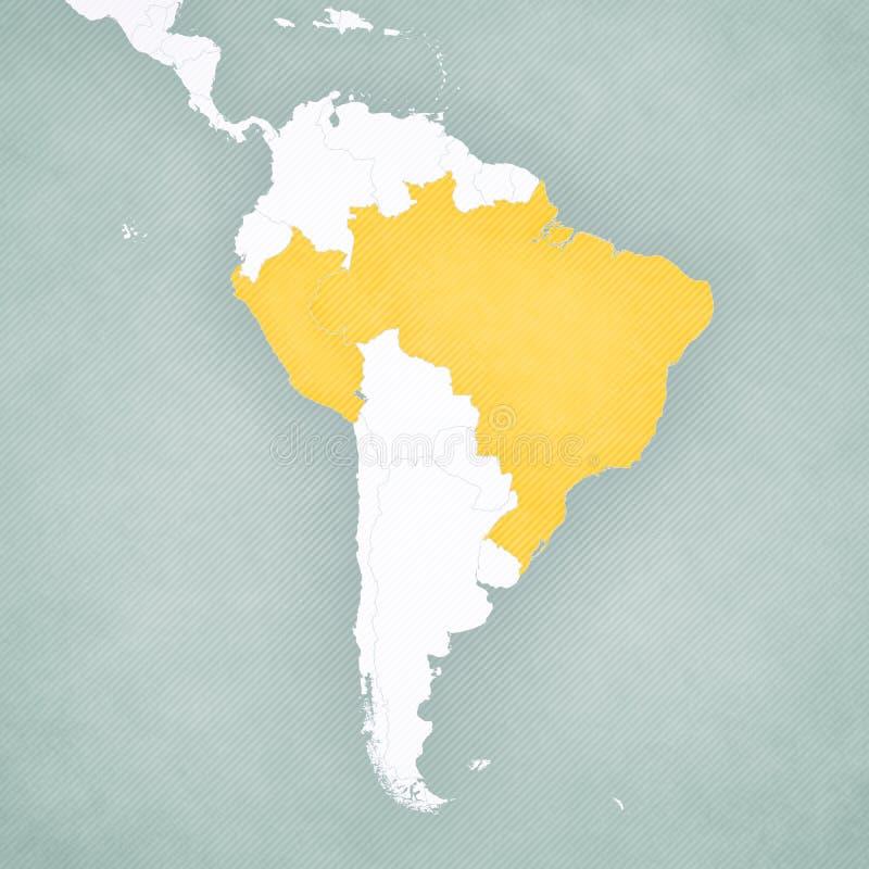 南美洲-巴西和秘鲁的地图 库存例证