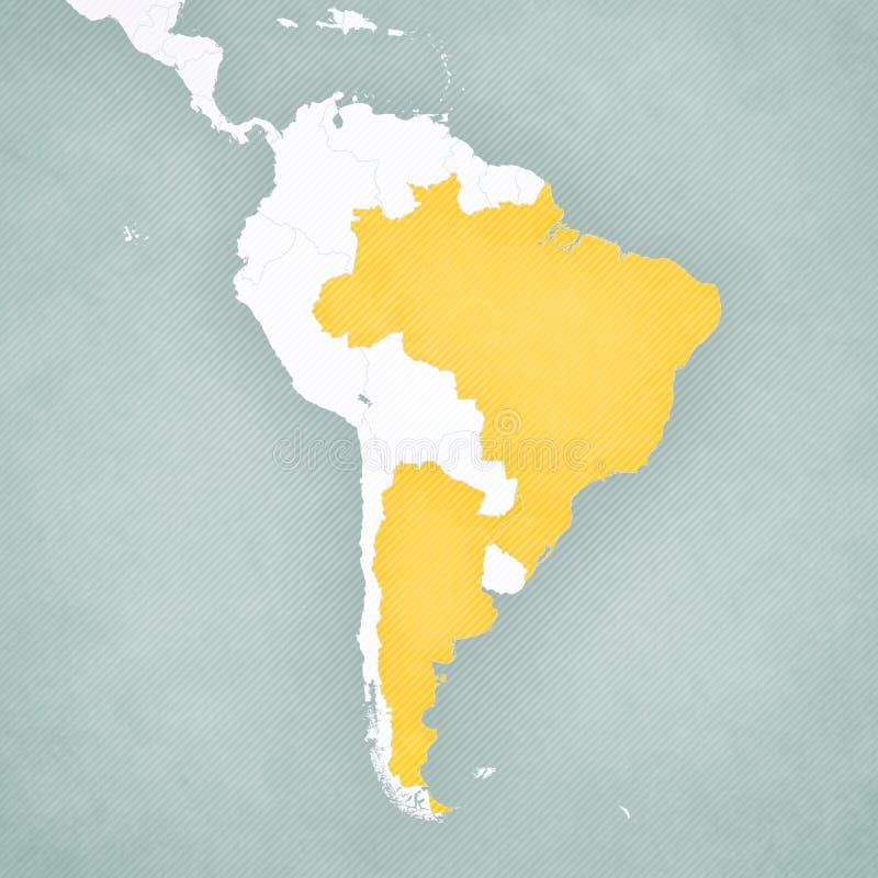 南美洲-巴西和阿根廷的地图 向量例证