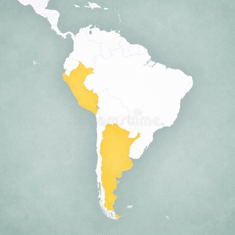 南美洲-秘鲁和阿根廷的地图 皇族释放例证