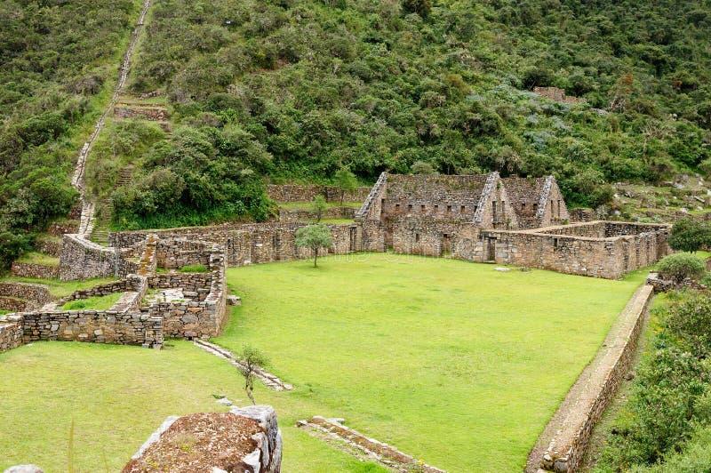 南美-秘鲁, Choquequirao的印加人废墟 库存图片
