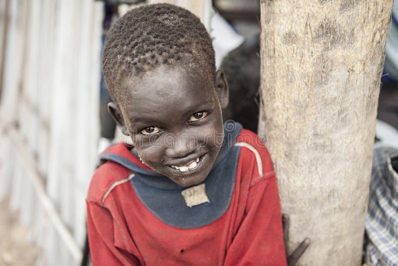 南苏丹人男孩画象  图库摄影