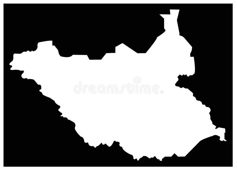 南苏丹地图-国家在位于东部中心位置的非洲 向量例证