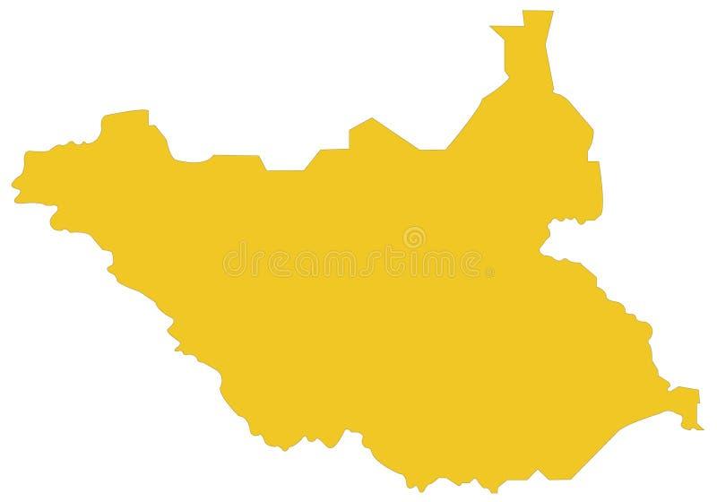 南苏丹地图-国家在位于东部中心位置的非洲 皇族释放例证