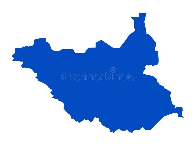 南苏丹地图-国家在位于东部中心位置的非洲 库存例证