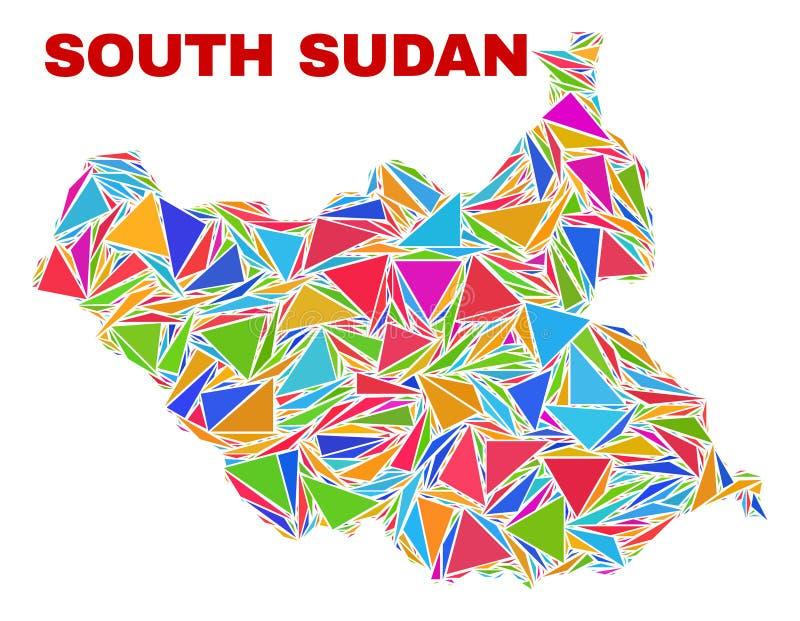 南苏丹地图-颜色三角马赛克  向量例证