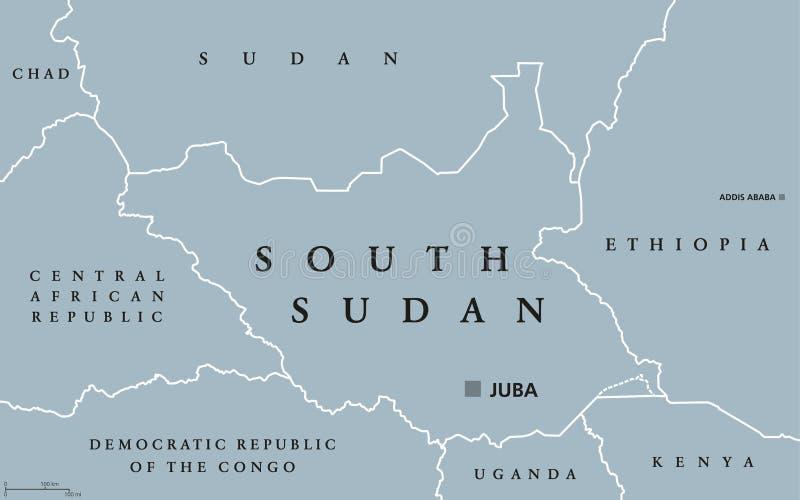 南苏丹政治地图 向量例证