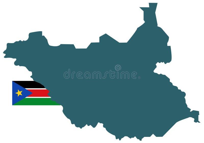 南苏丹旗子和地图-国家在位于东部中心位置的非洲 库存例证