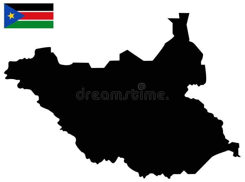 南苏丹旗子和地图-国家在位于东部中心位置的非洲 向量例证