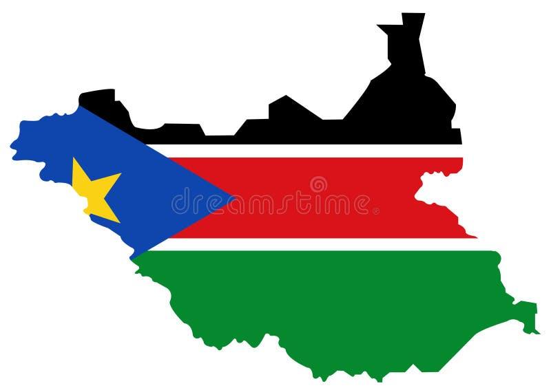 南苏丹旗子和地图-国家在位于东部中心位置的非洲 皇族释放例证