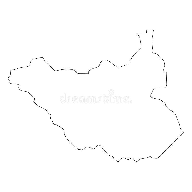 南苏丹-国家区域坚实黑概述边界地图  简单的平的传染媒介例证 皇族释放例证