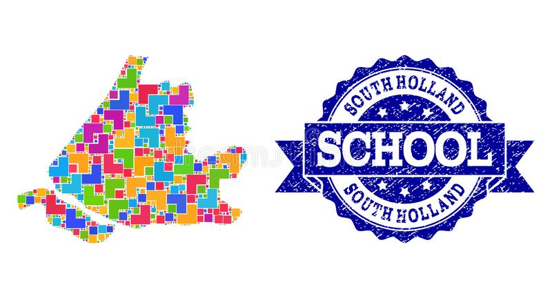 南荷兰省和难看的东西学校封印构成军用镶嵌地图  皇族释放例证