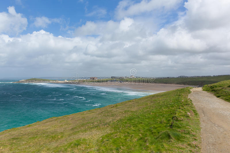 南西海岸道路Fistral海滩Newquay北部康沃尔郡英国 图库摄影