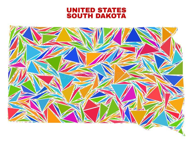 南达科他状态地图-颜色三角马赛克  库存例证