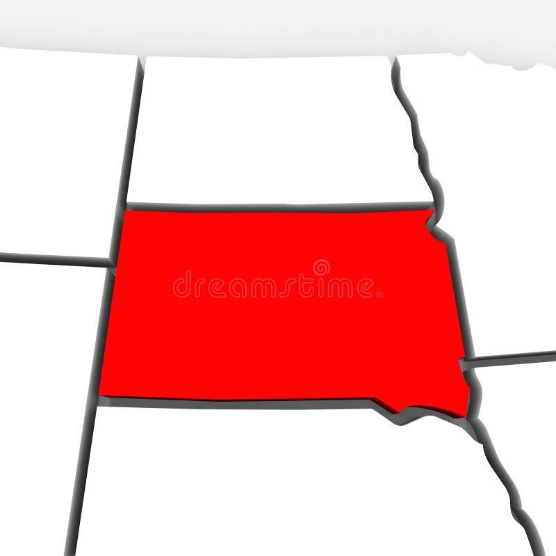 南达科他红色摘要3D状态映射美国美国 库存例证