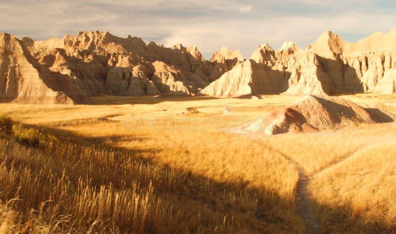 南达科他荒地的被腐蚀的大草原 库存照片