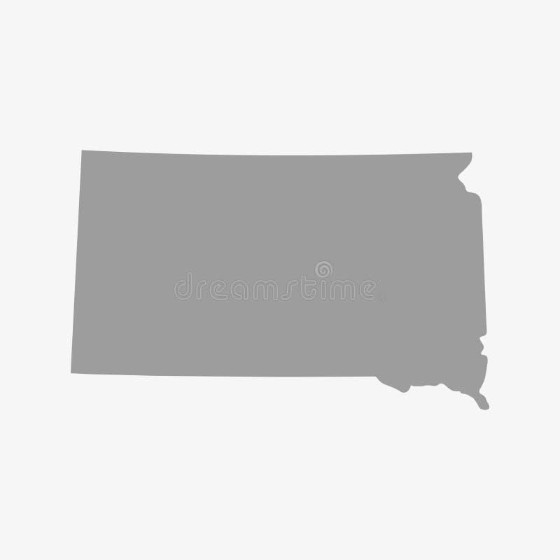 南达科他在灰色的状态地图在白色背景 库存例证