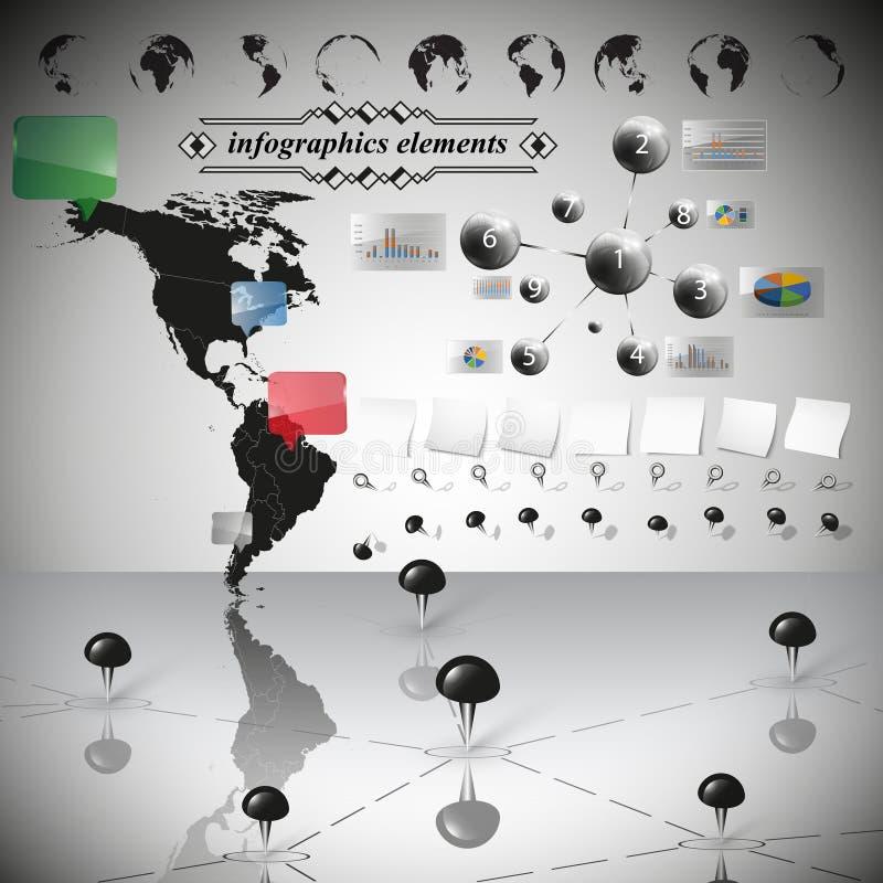 南部和北美, infographic传染媒介地图  库存例证