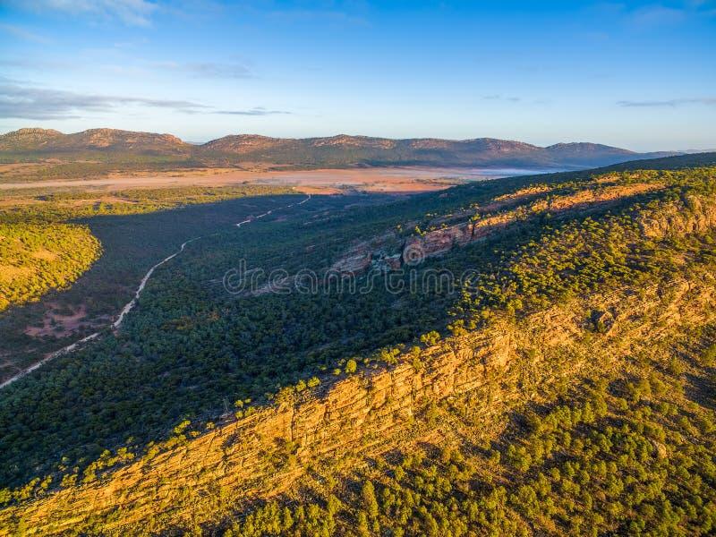 南部澳大利亚人风景在内地日落的 免版税图库摄影
