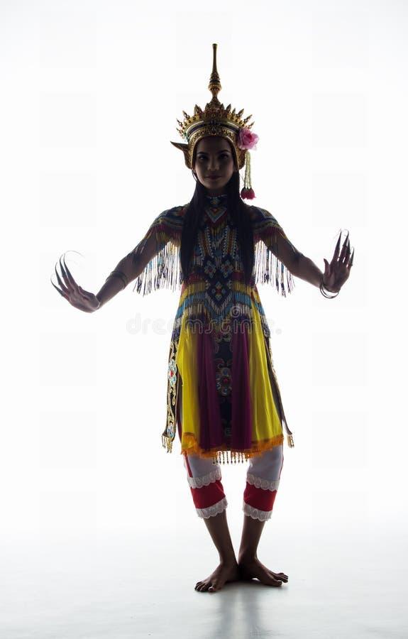 南部的泰国古典舞衣服的夫人在wh摆在 免版税图库摄影