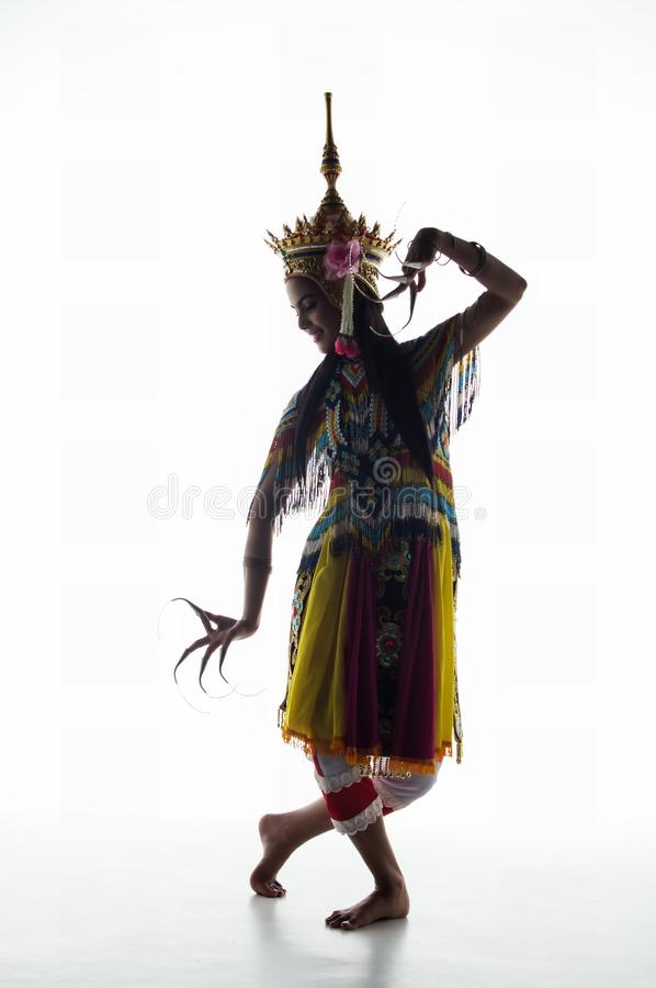 南部的泰国古典舞衣服的夫人在wh摆在 库存照片