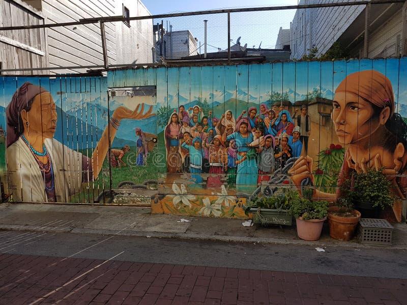 南雅Bihana,壁画在使命区,旧金山 库存图片