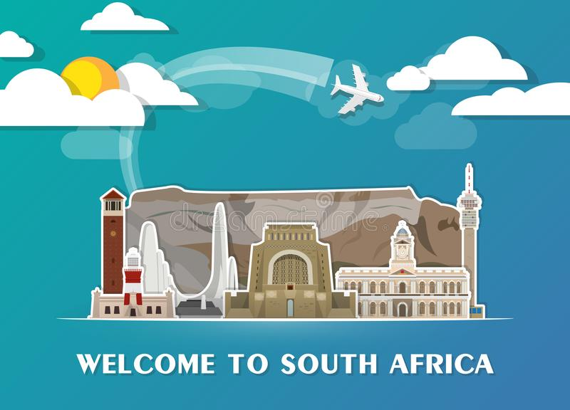 南非地标全球性旅行和旅途纸背景 库存例证