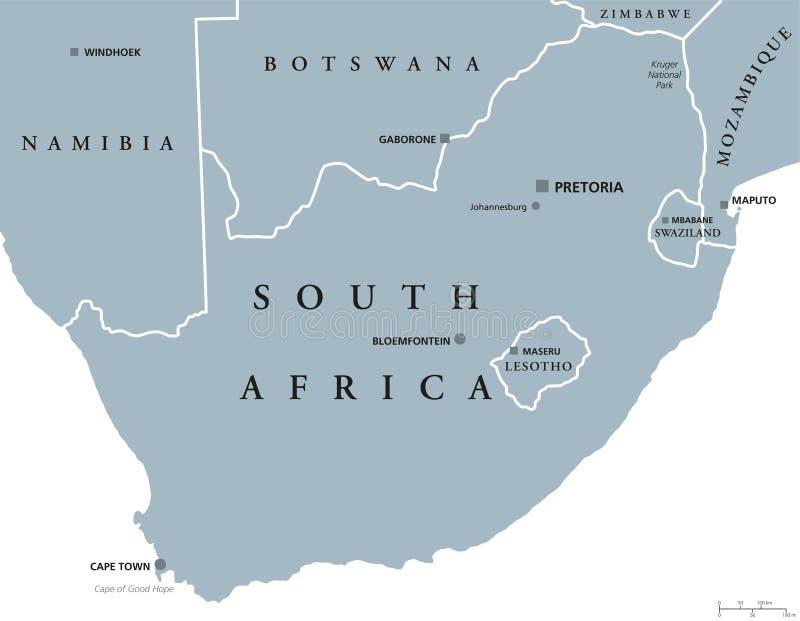 南非政治地图 库存例证