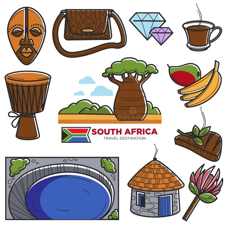 南非旅行旅游业地标和非洲人著名旅游胜地导航象 皇族释放例证