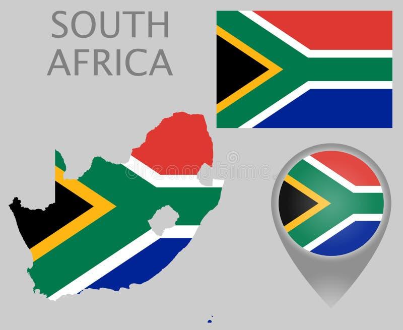 南非旗子、地图和地图尖 库存例证
