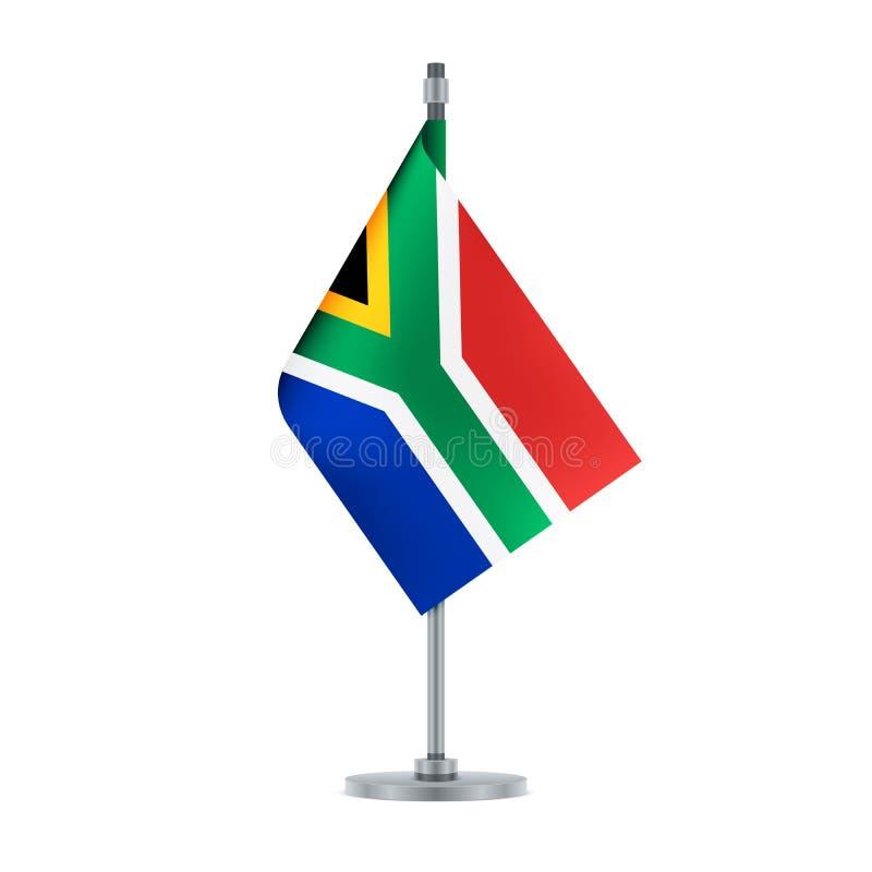 南非旗子垂悬在金属杆的, illustra 库存例证