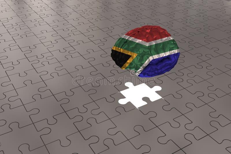 南非旗子的银色难题飞机对脑子 库存照片