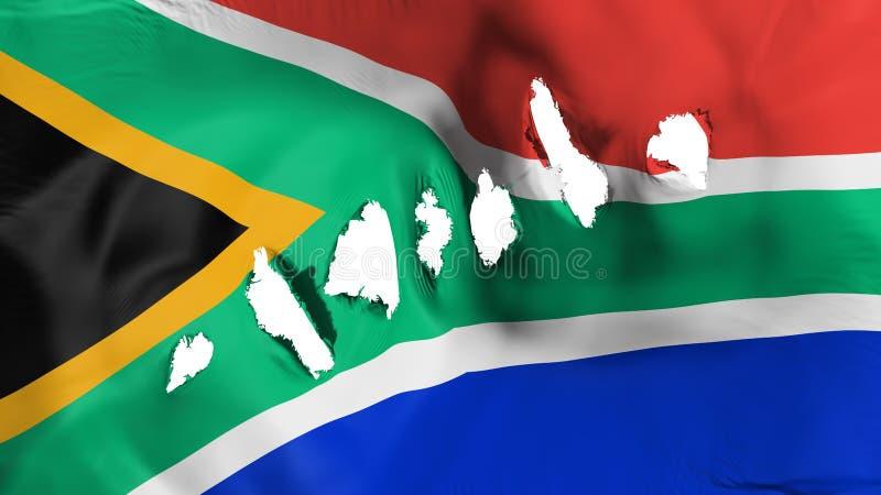 南非旗子穿孔了,弹孔 库存例证