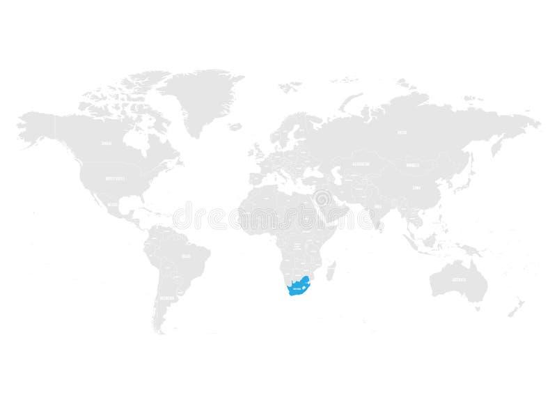 南非由在灰色世界政治地图的蓝色指示了 也corel凹道例证向量 向量例证
