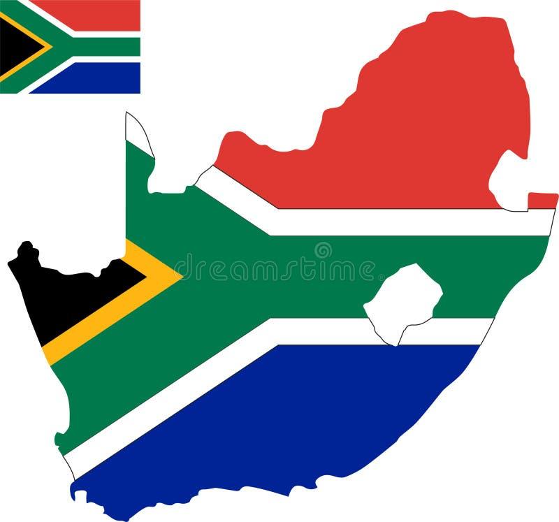 南非的传染媒介地图有旗子的 被隔绝的,白色背景 库存图片