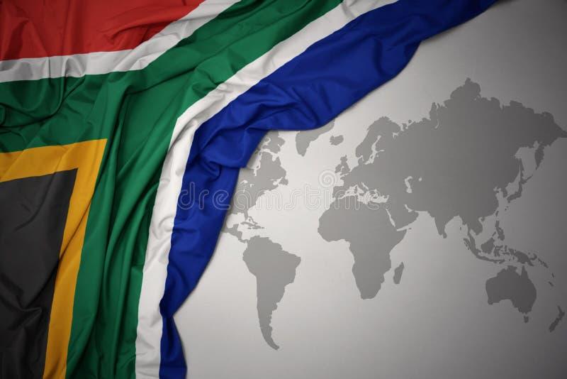 南非的挥动的五颜六色的国旗 皇族释放例证