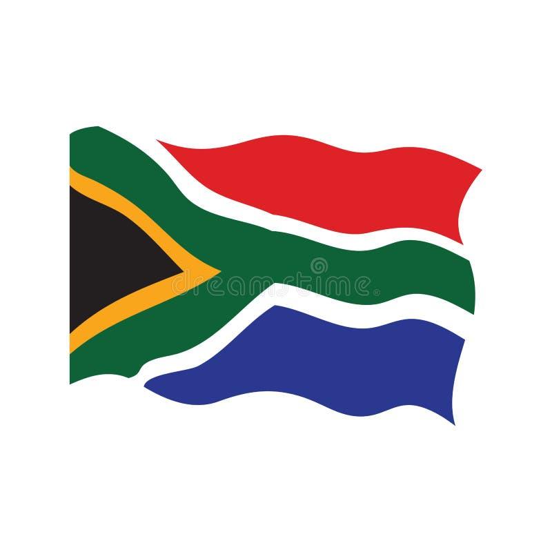 南非的挥动的旗子 库存例证