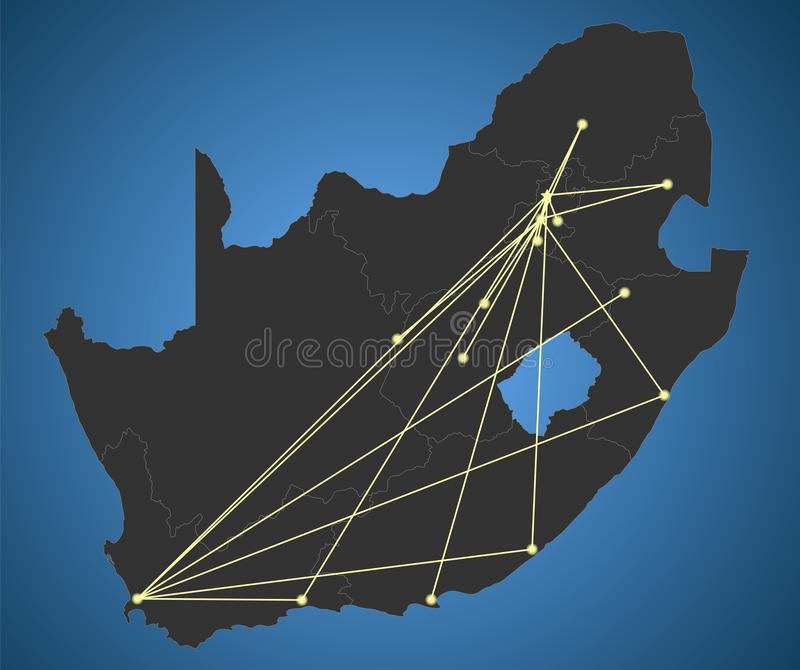 Political South Africa Map, City Network stock illustration