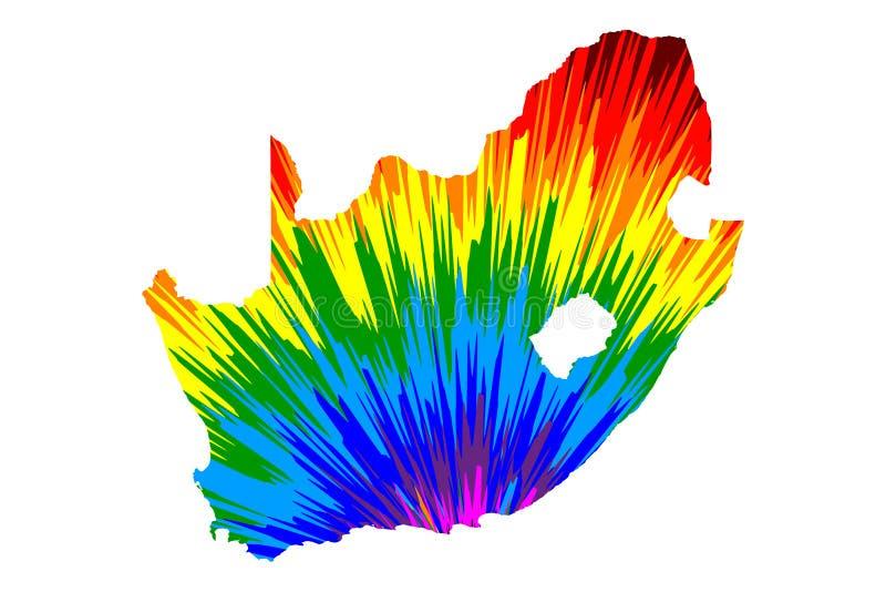 南非-地图是被设计的彩虹摘要五颜六色的样式,南非共和国RSA地图做了颜色爆炸 库存例证