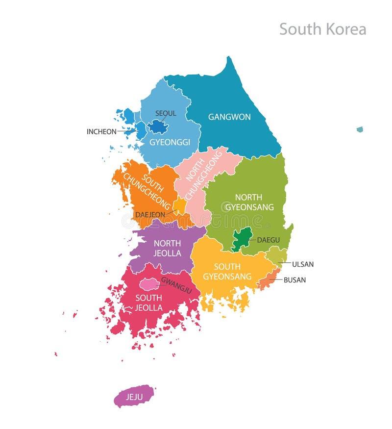 南韩国的映射 向量例证