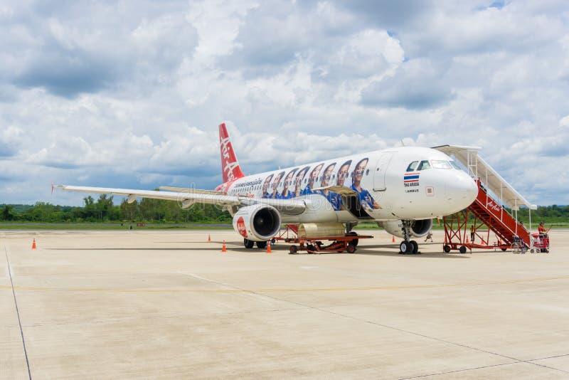南,泰国- 6月10 :亚洲航空在南国际机场o 免版税库存照片