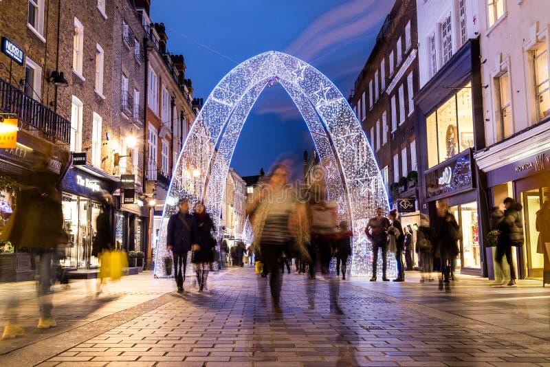 南Molton街在伦敦在圣诞节期间 免版税库存照片