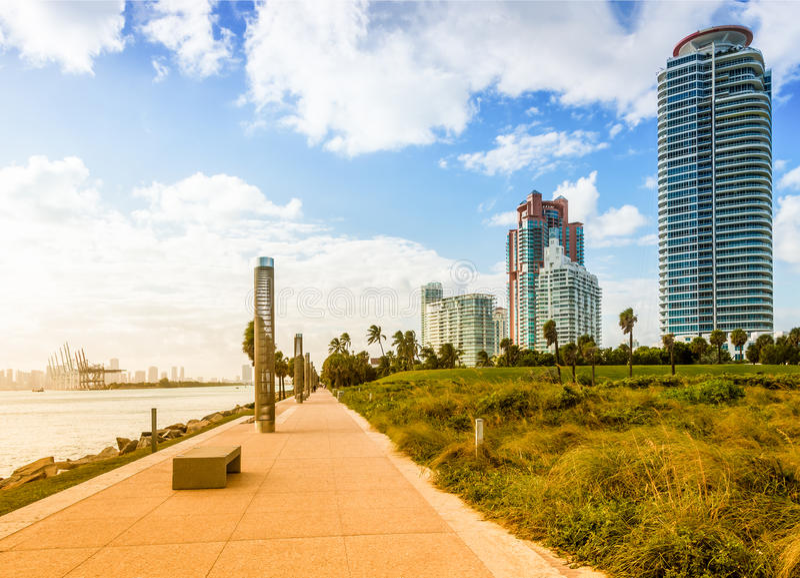 南Pointe公园在迈阿密海滩 免版税库存图片