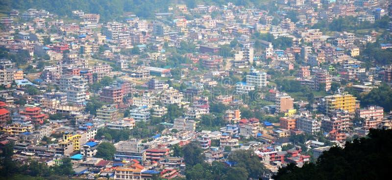 博克拉都市风景安纳布尔纳峰谷的尼泊尔 免版税图库摄影