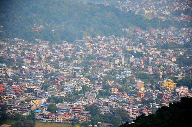 博克拉都市风景安纳布尔纳峰谷的尼泊尔 免版税库存照片