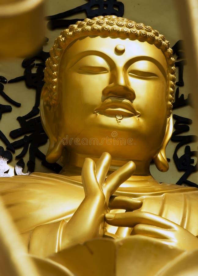 博克拉,尼泊尔, 5月20日:从世界和平塔的金子菩萨 免版税库存图片
