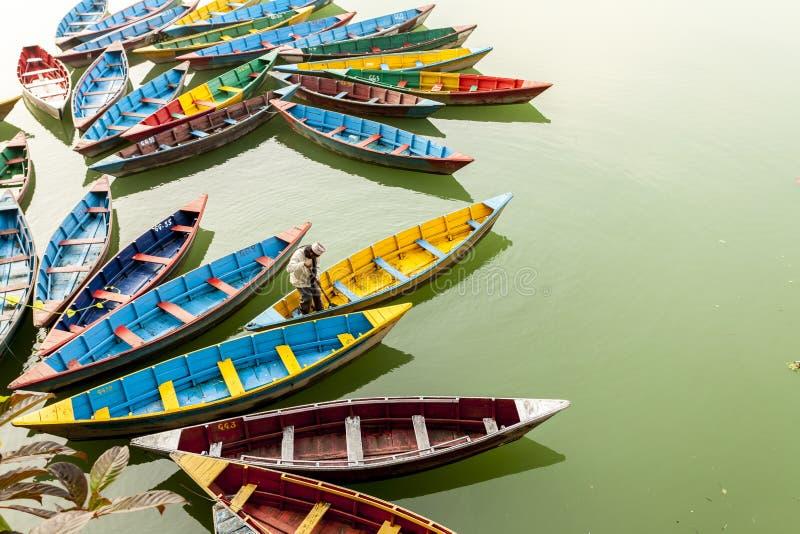 博克拉,尼泊尔- 2015年11月21日:清洗在Phewa湖的工作者五颜六色的小船在博克拉 库存图片