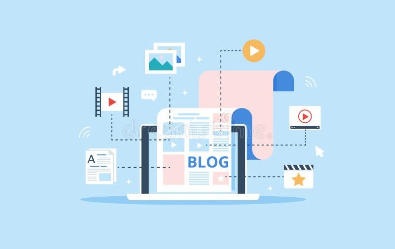 博克页用内容填好  文章和上载过程的媒介材料 Blogging,使管理满意和 库存例证