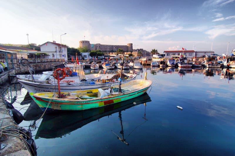博兹贾阿达小游艇船坞视图 免版税库存图片