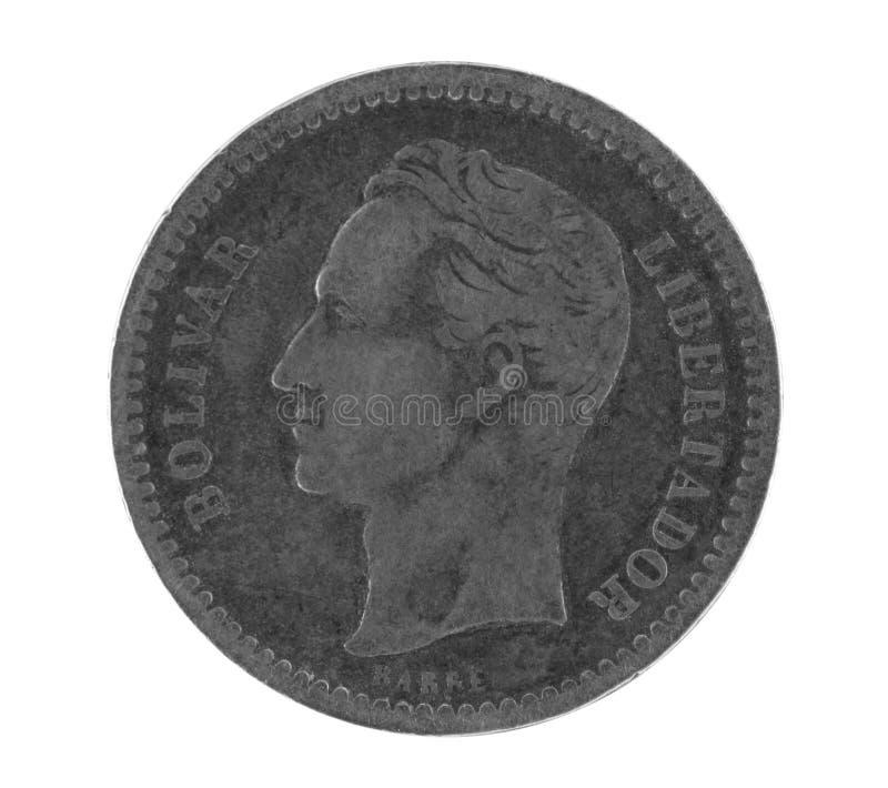 博利瓦硬币老银色委内瑞拉 免版税图库摄影